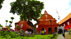 Time lapse of Christ Church with tourists and Rickshaws. Melaka. Stock Footage