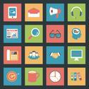 Marketing flat icons set Stock Illustration