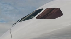 Boeing 787-9 Tight Shot of the Windshield Stock Footage