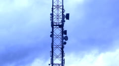 Broadcasting comunication connection network media tower timelapse  sky clouds Stock Footage