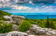 boulders and eastern view of the appalachian mountains from bear rocks preser - stock photo