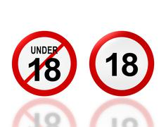 adult sign and under 18 age sign - stock illustration