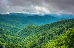 Dramatic view of the appalachian mountains from newfound gap road, at great s Stock Photos
