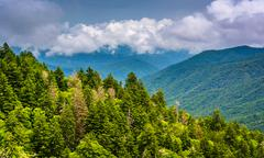 dramatic view of the appalachian mountains from newfound gap road, at great s - stock photo