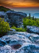 sunrise at bear rocks preserve, in dolly  sods wilderness, monongahela nation - stock photo