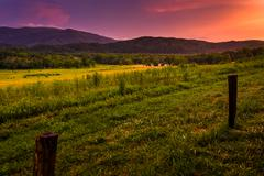 sunset at cade's cove, great smoky mountains national park, tennessee. - stock photo