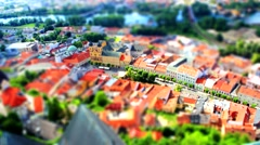 Small town Trencin from bird perspective Stock Footage