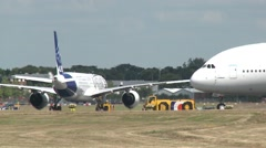 Airbus A380 & A350 Taxi Stock Footage