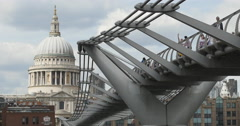 From St Pauls to pedestrians on Millennium Bridge 4K Stock Footage