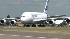 Airbus A380 & Airbus A350 XWB Being Moved Stock Footage