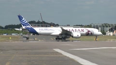 Airbus A350 XWB Parked on Runway. Great Heat Haze Stock Footage