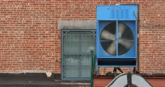 4K Air Conditioning Unit on a Roof Top Stock Footage