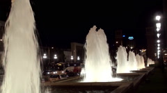Barcelona. Alley fountains near the Magic Fountain of Montjuïc at night. Stock Footage
