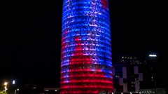Types of Barcelona. Torre Agbar tower at night. Catalonia, Spain. Stock Footage