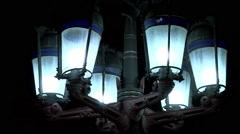 Lantern of the architect Antoni Gaudi on the Royal Plaza, Barcelona Stock Footage