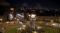 Barcelona. View of Plaza of Spain from the Les Arenes bullring at night. Stock Footage