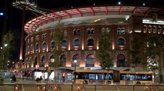 Arenas de Barcelona (former bullring) at night. Catalonia, Spain. Stock Footage