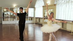 Ballet dancing in the studio, couple practicing dancing moves Stock Footage