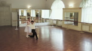 Ballet dancing, elegant couple rehearsing ballet moves in studio Stock Footage