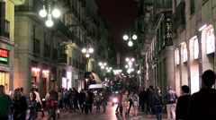 Crowd tourists at the Barcelona Gothic Quarter at night. Stock Footage