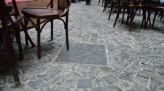 Floor from a stone blocks in cafe.  Stock Footage