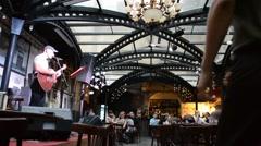 The guitarist in cafe, excellent design. Lviv, Ukraine. Stock Footage
