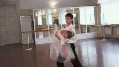 Pas de deux in slow motion, couple dancing classical ballet Stock Footage