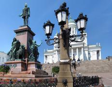 Senate Square is the landmark of Helsinki, Finland - stock photo