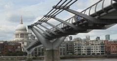 St Pauls and London Millennium footbridge 4K Stock Footage