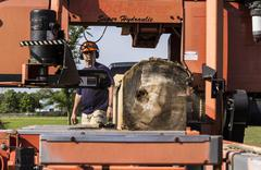 Log being cut by portable sawmill - stock photo