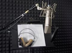 Condenser microphone in vocal recording room Stock Photos