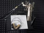 Stock Photo of condenser microphone in vocal recording room
