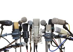 Microphones prepared for conference meeting - isolated Kuvituskuvat