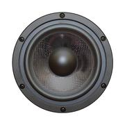Closeup view of black bass speaker Stock Photos