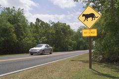 panther crossing sign - stock photo