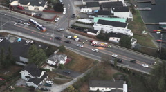 Emergency Vehicles at Roadway Accident - Aerial Stock Footage