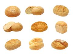 Set of different kinds fresh bread.isolated. Stock Photos