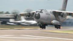 Close up of the Airbus A400M Landing Stock Footage