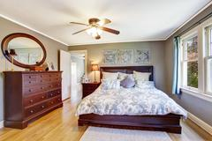Master bedroom interior with walk-in closet Stock Photos