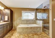 Modern bathroom interior with glass door shower Stock Photos