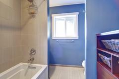 light blue bathroom interior - stock photo