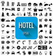 Hotel icon set Stock Illustration