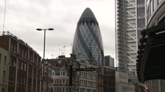 "St Mary Axe - ""The Gherkin"" building  - London Stock Footage"