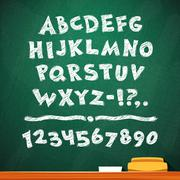 cartoon chalk vector font on green school board - stock illustration