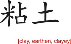Chinese Sign for clay, earthen, clayey Stock Illustration