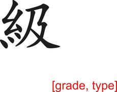 Chinese Sign for grade, type - stock illustration