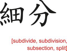 Chinese Sign for subdivide, subdivision, subsection, split - stock illustration
