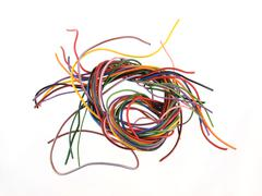 multicoloured six amp electrical wire - stock photo
