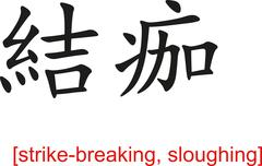 Stock Illustration of Chinese Sign for strike-breaking, sloughing