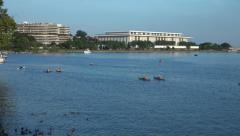 Potomac, DC waterfront, boaters, ducks, Kennedy Center 4K - stock footage